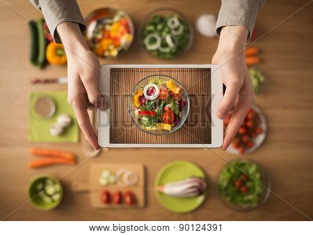 Food And Cooking App On Digital Tablet
