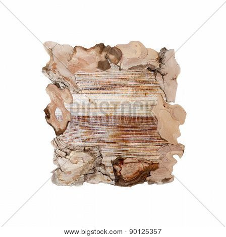 Wooden frame for paintings and photographs isolated on white background