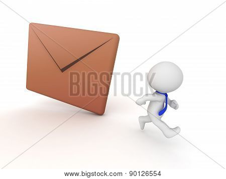 3D Character Running Away from Mail Envelope