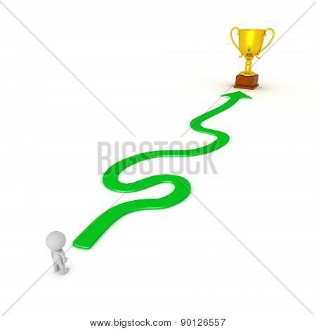 3D Character and Winding Path to Success Gold Trophy