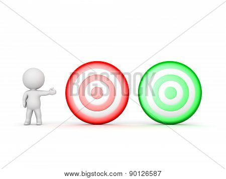 3D Character Showing Red and Green Targets