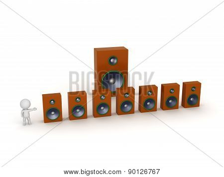 3D Character Showing Seven Speakers plus One Large Speaker