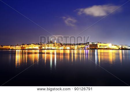 The Panorama Of Valletta In Night Illumination, Sliema, Malta