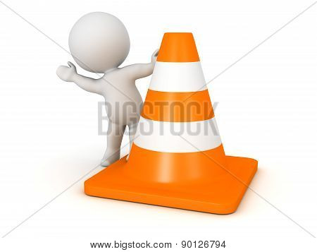 3D Character Waving from Behind Orange Road Cone