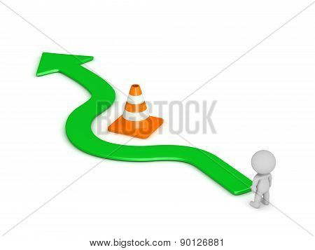 3D Character and Arrow Going Around Orange Road Cone Obstacle