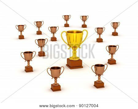 3D Small Bronze Trophy and Large Gold Trophy