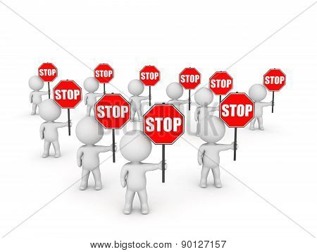 Several 3D Character Holding Stop Signs
