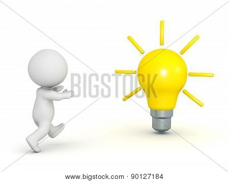 3D Character Running Toward Light Bulb