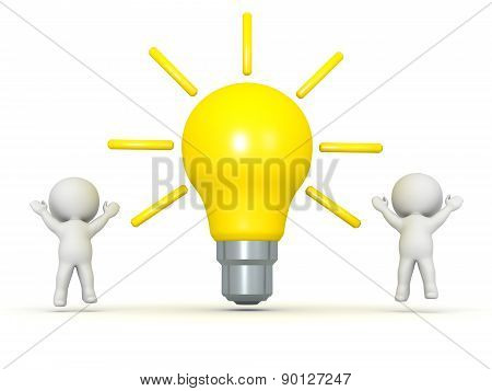 Two 3D Characters Cheering and Large Light Bulb