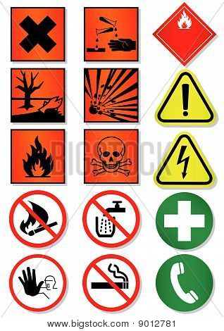 Vector set of different international signs, laboratory associated.