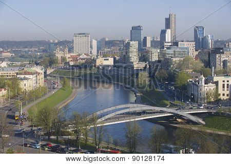 View to the Vilnius city and Neris river early in the morning from Gediminas hill in Vilnius, Lithua