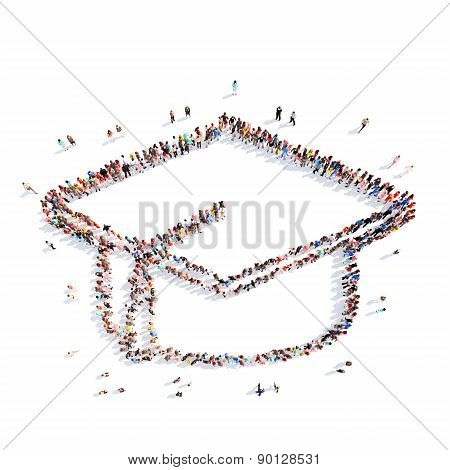 people in the shape of student hat.
