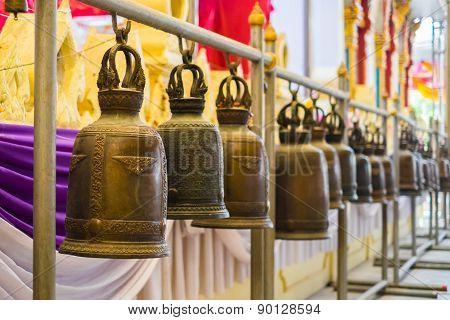Buddhist Brass Bells In Wat Rai Khing