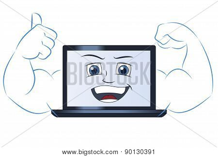 Smiling powerful laptop computer