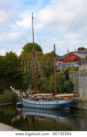 Two Masted Sailing Ship In Charlestown, England