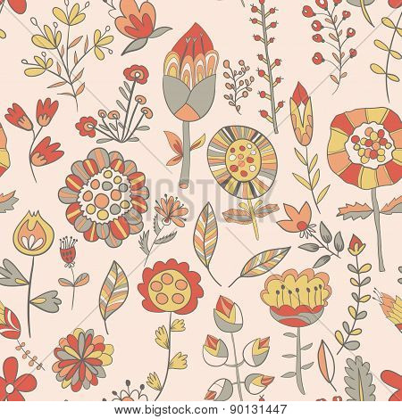 Flower Pattern Hand-drawn Cute Doodle