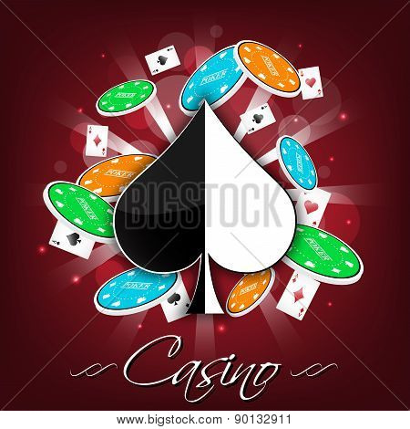 Casino vector background with card symbol