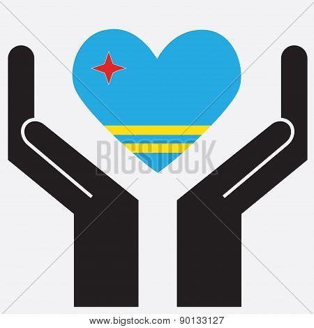 Hand showing Aruba flag in a heart shape.