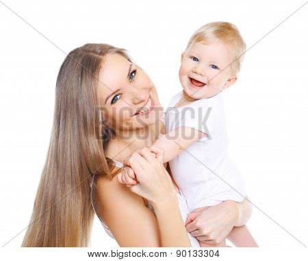 Portrait Of Beautiful Happy Mother And Her Cute Baby