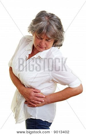Elderly Woman With Aching Kidney