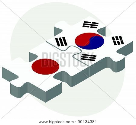 Japan And South Korea Flags In Puzzle