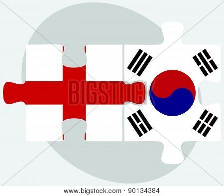England And South Korea Flags In Puzzle