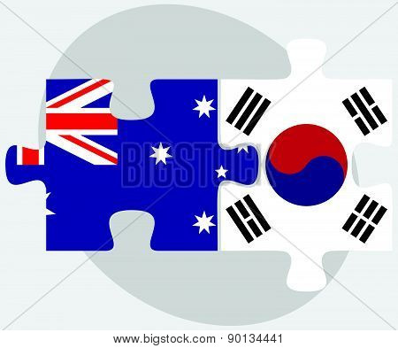 Australia And South Korea Flags In Puzzle