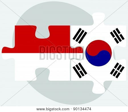 Indonesia And South Korea Flags In Puzzle