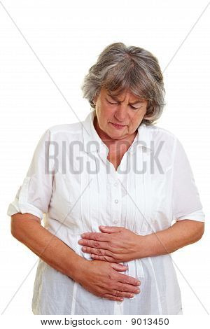 Elderly Woman With Stomach Cramps