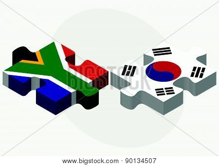 South Africa And South Korea Flags In Puzzle