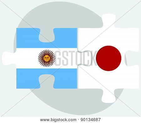 Argentina And Japan Flags In Puzzle