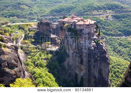 The Holy Monastery Of Varlaam On The Cliff At Meteora Rocks, Greece