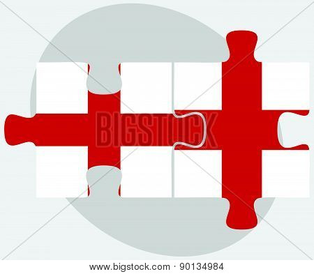 England And England Flags In Puzzle