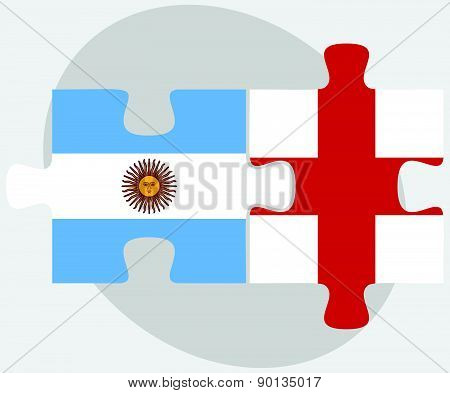 Argentina And England Flags In Puzzle