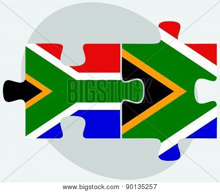 South Africa And South Africa Flags In Puzzle