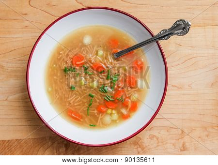Noodle s with vegetable soup top view