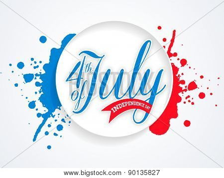Glossy sticky design with text 4th of July on national flag color splash background for American Independence Day celebration.