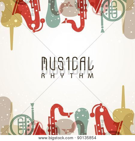 Abstract musical background decorated with stylish text and colorful instruments.