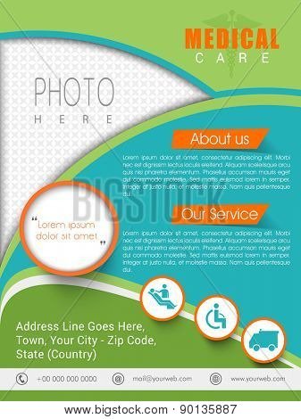 Colorful health care template, banner or flyer presentation with different medical elements.