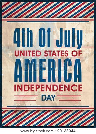 National flag colors vintage poster, banner or flyer on star decorated background for American Independence Day celebration.