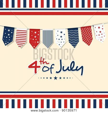 4th of July, American Independence Day celebration greeting card with bunting in national flag color.