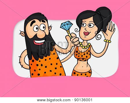 Love concept with illustration of a caveman giving diamond to his beloved.