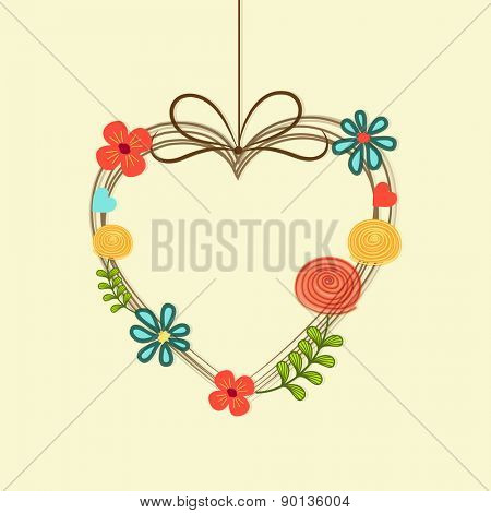 Colorful flowers decorated hanging heart, Love Concept.