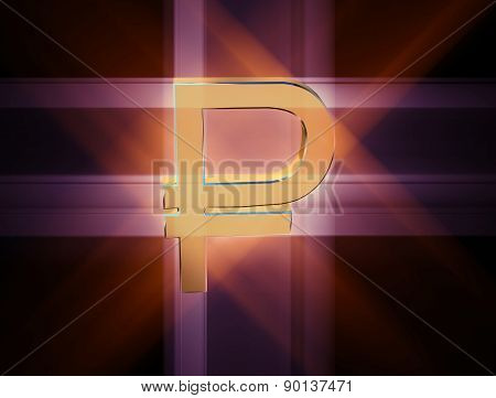 Three-dimensional Image Of The Golden Symbol Of The Ruble Among The Colored Rays