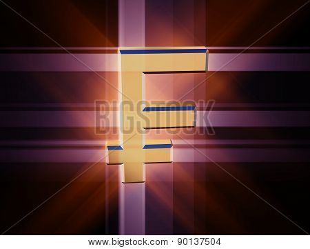 Three-dimensional Image Of The Gold Franc Symbol Among The Colored Rays