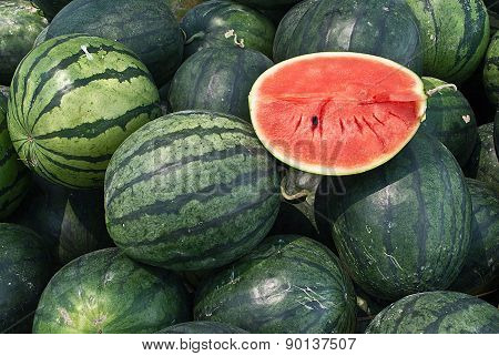Many Big Sweet Green Watermelons And One Cut Watermelon