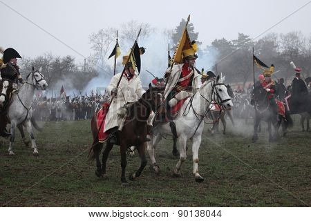 TVAROZNA, CZECH REPUBLIC �¢?? DECEMBER 3, 2011: Re-enactors uniformed as Austrian soldiers attend the re-enactment of the Battle of Austerlitz (1805) near Tvarozna, Czech Republic.