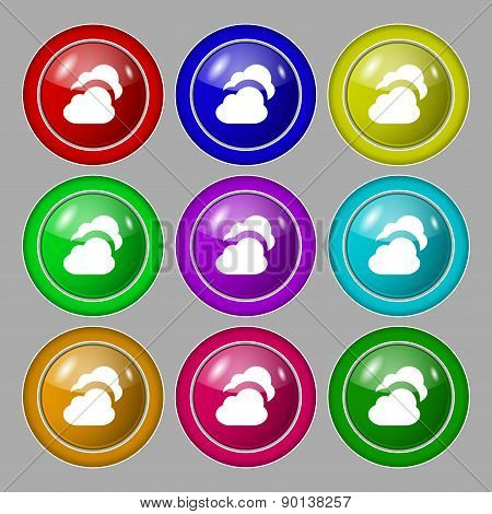 Cloud Icon Sign. Symbol On Nine Round Colourful Buttons. Vector