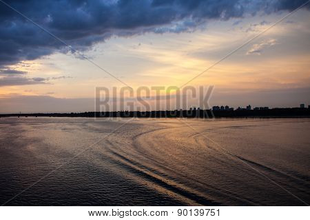 Evening Dnieper Landscape At Sunset