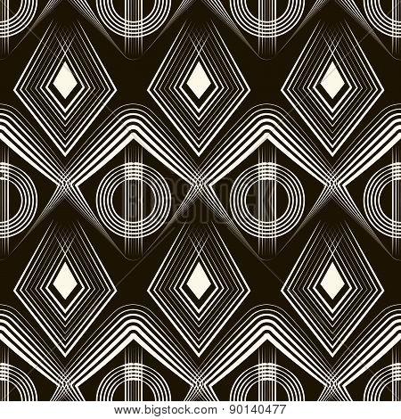 Seamless Deco Pattern Ornament, Geometric Vector Stylish Background